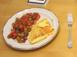 Cheese Omelet and Breakfast Potatoes by Nazzranach