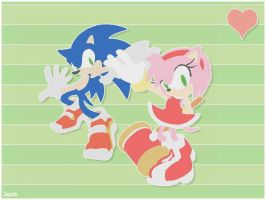 Sonic and Amy - paper style by JacobMainland
