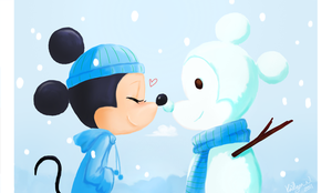 Snow Mickey and Minnie by chocolatecherry