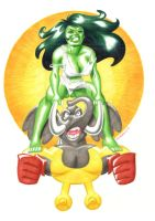 She-Hulk vs. the Man Elephant by Jed-Raven