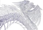 Lineart: Winged Wyrm by kxeron