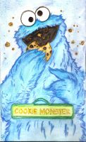 Cookie Monster watercolor by Lost-in-Hogwarts
