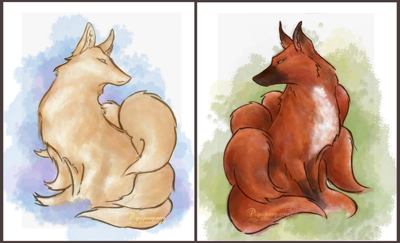 Foxs couple by Piquipauparro