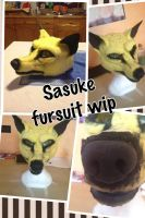 sasuke fursuit head WIP + VIDEO by Nomura15