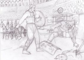 Celtic Gladiator Arena sketch by dashinvaine