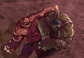 Thing vs Hulk by Alek-Marmontel