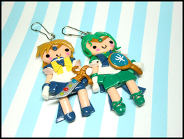 Sailor Uranus and Neptune Keychains by GrandmaThunderpants
