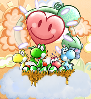 Yoshis! [Screenshot Redraw] by FuwaKiwi