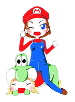Mario and Yoshi, Moe style :D by kamui82