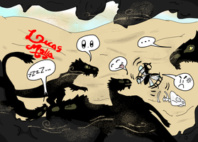 A Family of Velociraptors in a Sandstorm! by LucasMolla