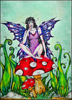 Fairy on the Mushroom by FantasyanDreams