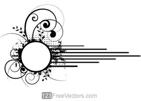 Vector Grunge Floral Circle Frame Design by 123freevectors