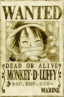 Wanted Luffy by Spitfire5892
