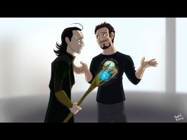 Loki vs Tony by Konstance
