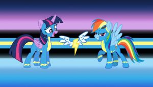 Wonderbolts Dash and Twilight by GreenMachine987