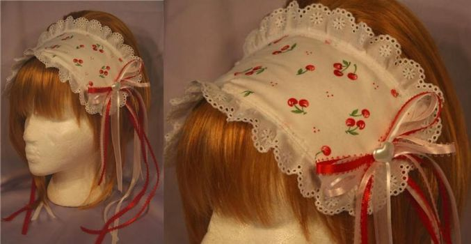 Sweet Lolita Cherry Bonnet by MasqueradeDreams