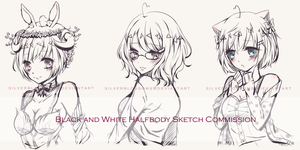BW halfbody sketch comms by silverblossoms