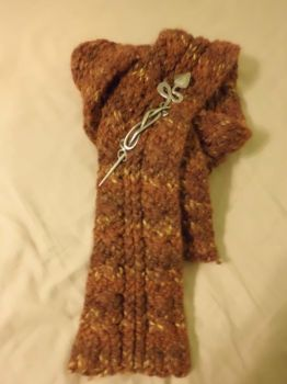 double cable knit scarf and hand forged pin by crazyandconfusedone