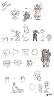 Project Feather mail: Character design dump by HatPup