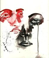 Face study RED and BLACK by Lady-Revolution