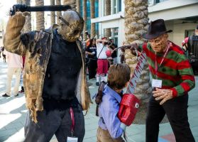 wondercon 2013 freddy vs jason vs ash by rubenvoorhees1