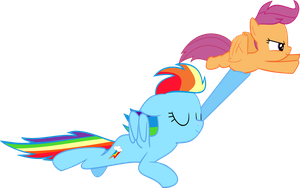 Rainbowdash and Scootaloo flying by HeavyEcho