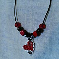 Pierced Heart Beaded Cross Stitch Necklace by agorby00