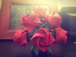 Origami Rose Bouquet by mrmyco