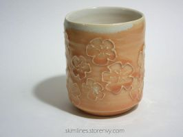 Coral Blossoms Tea Cup by skimlines