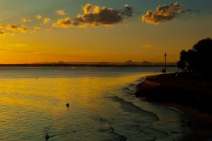 Sunset from Bribie bridge by wildplaces