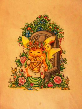 Alolan Raichu-Queen of Pentacles by AnhKhoiLe
