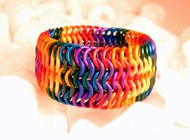 Rainbow Cuff by chainmaille