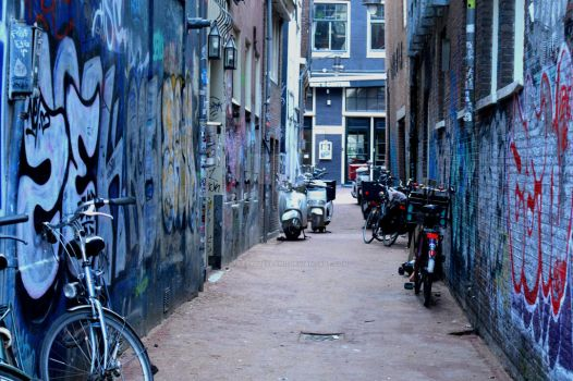 Amsterdam Alleyway by ArtByCleeland