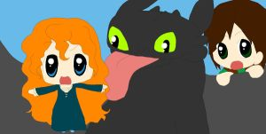 Hiccup, Merida and Toothless: Dragon Love by Queen-Of-Cute
