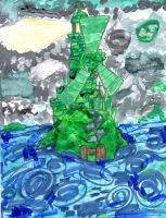 Green Steam Windmill-Lighthouse by SonicClone