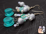 Kawaii Fairy Kei Blue Tea Cup Dangle Earrings by 1stQueenOfHalloween