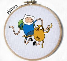 Finn and Jake Dancing cross stitch pattern by JuliefooDesigns