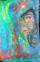 mermaid (oil pastel) by Nezzymusiclover