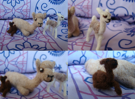 Needle Felted Alapca Mom and Crias by Aura-BleedingHeart