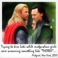 Thor and Loki Interrupted Kiss by RevolutionaryAngel