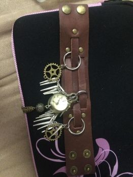 Steampunk Bracelet 1 laid out by desertlilly