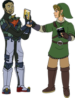 Isaac Clarke and Link Exchanging Games by pikmin789
