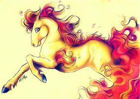 .:Ponyta:FireSwirl:. by WhiteSpiritWolf
