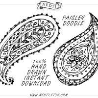 Paisleys Hand Drawn Clipart by Nedti by Nedti
