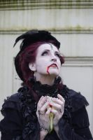 Stock - Vampire Lady blood flower gothic look up by S-T-A-R-gazer