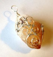 Reversible Wire Wrapped Raw Citrine Point Pendant by FaerieForgeDesign