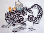 .:Tribal Wolf Link and Midna:. by CrazyMeliMelo