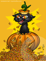 Candy Corn Cat by cyclonaut
