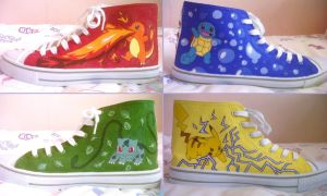 Hand Painted Pokemon Shoes by Skipafew
