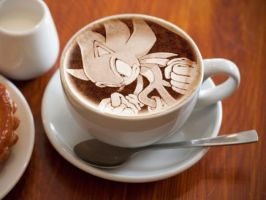 Super Sonic latte art 2 by JuliatheHedgehog336